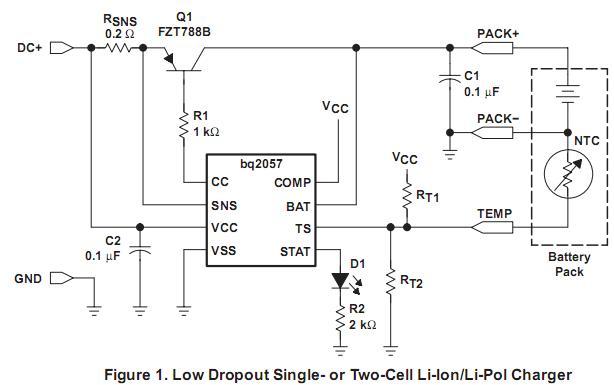 BQ2057WSNTR产品描述 不断采取措施的bq2057电池温度使用外部热敏电阻。为安全起见,抑制的bq2057至电池温度 是在用户定义的阈值。然后在bq2057收费电池在三个阶段:空调,恒定电流,恒定电压和。如果电池 电压低于低电压阈值,第五章(民) ,该bq2057 precharges用低电流条件下, 电池。这样的条件收取率约10 %的调节电流。目前的空调同时最大限度地减少散热的外部传递 元素在初始阶段的收费。经过空调,适用的bq2057恒定电流电池。一个外部检测电阻设置电流。 感电阻可以对无论是
