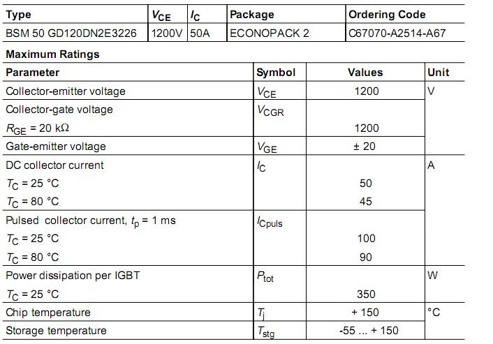 每个终端限制电流 bsm50gd120dn2e3226  50a/1200v/igbt电源模块电路