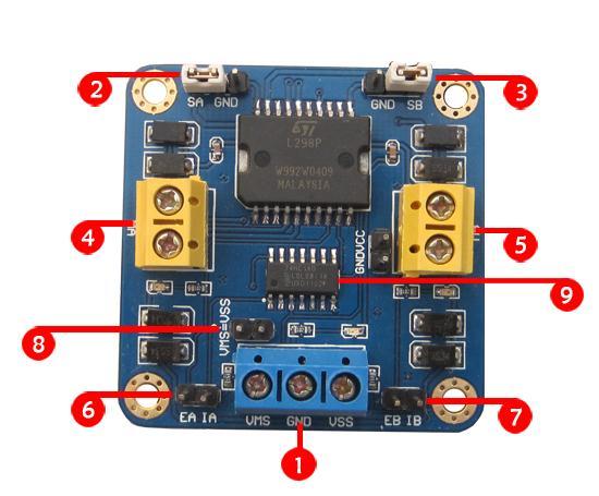 驱动板重量:17g 2. 电机a的电流检测端,可以串入万用表测量电流. 3.